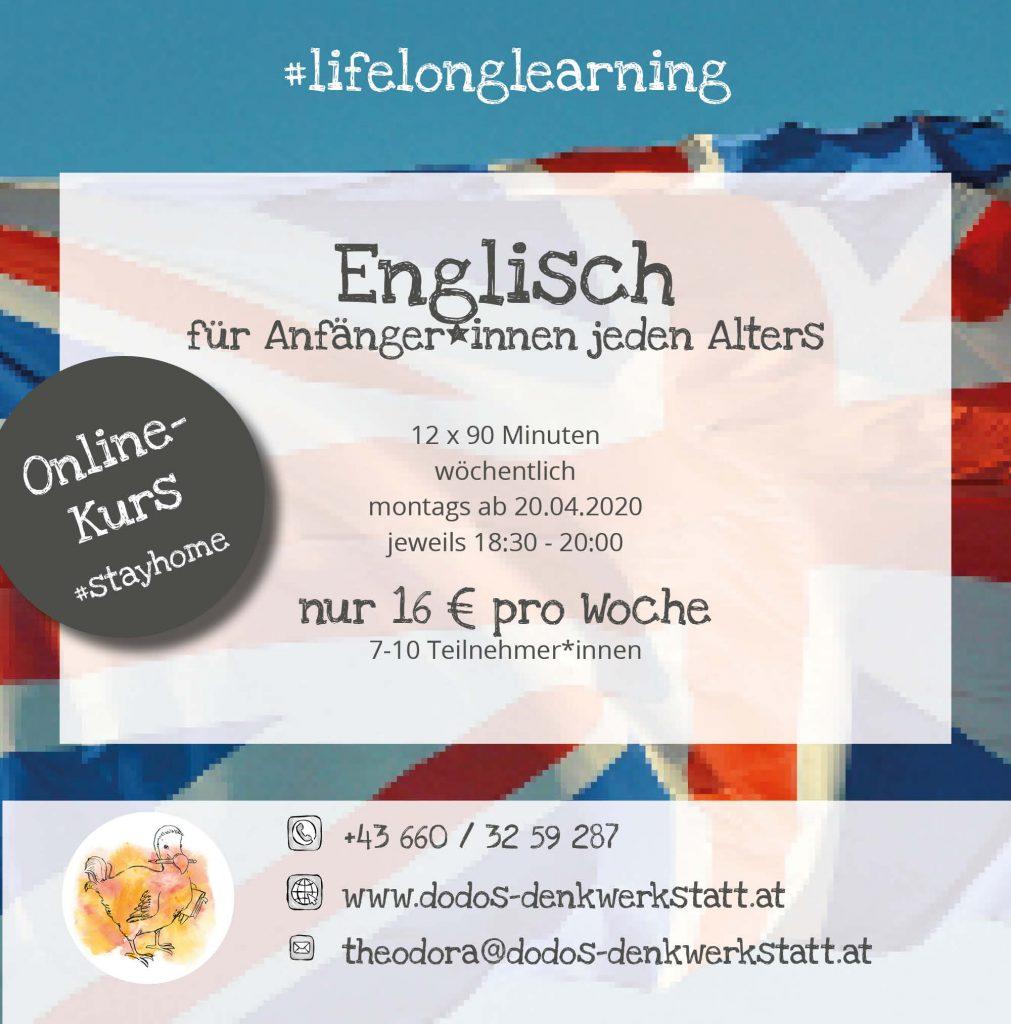 Dodos Denkwerkstatt: Englischkurse für Anfänger*innen ab 20.04.2020