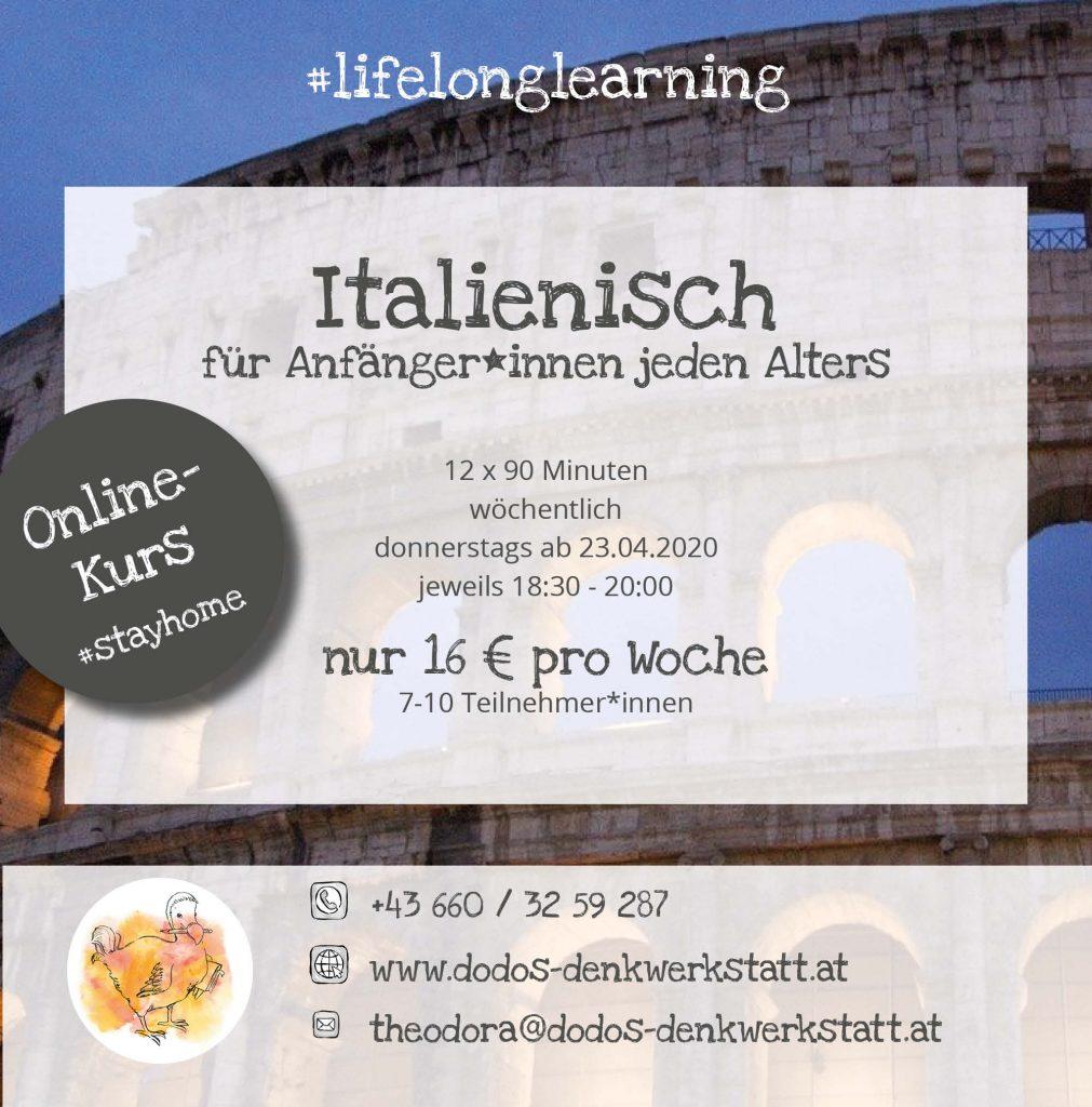 Dodos Denkwerkstatt: Italienischkurs für Anfänger*innen ab 23.04.2020