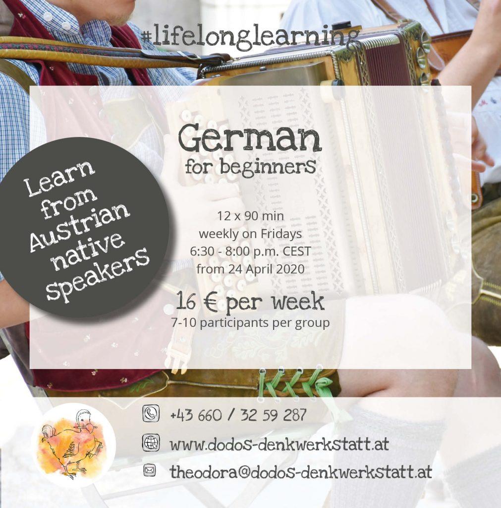 Dodos Denkwerkstatt: online German language courses for beginners starting on 24 April 2020