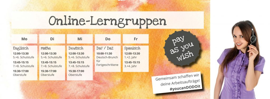 Pay as you wish Lerngruppen Online-Nachhilfe Dodos Denkwerkstatt Termine