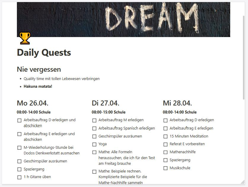 Beispielbild für eine To Do Liste in Notion von Dodos Denkwerkstatt